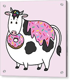 Funny Fat Holstein Cow Sprinkle Doughnut Acrylic Print by Crista Forest