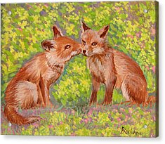 Funny Foxes .2007 Acrylic Print by Natalia Piacheva