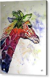 Acrylic Print featuring the painting Funny Giraffe by Kovacs Anna Brigitta