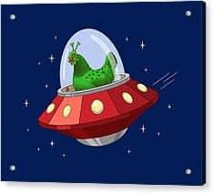 Funny Green Alien Martian Chicken In Flying Saucer Acrylic Print