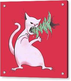 Funny White Cat Eats Christmas Tree Acrylic Print