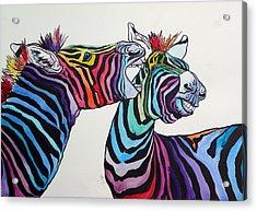 Funny Zebras Acrylic Print by Kovacs Anna Brigitta
