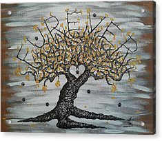Acrylic Print featuring the drawing Furever Love Tree W/ Paws by Aaron Bombalicki