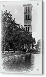 Furman University Bell Tower Greenville South Carolina Black And White Acrylic Print