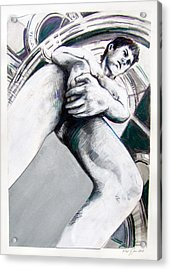 Acrylic Print featuring the drawing Future Time Traveler Peter Pan by Rene Capone
