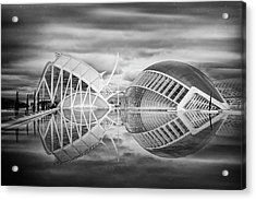 Futuristic Architecture Of Modern Valencia Spain In Black And Wh Acrylic Print by Carol Japp