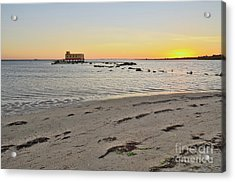 Fuzeta Beach Sunset Scenery And Landmark. Portugal Acrylic Print by Angelo DeVal