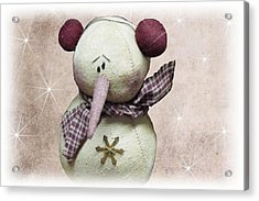 Fuzzy The Snowman Acrylic Print by David Dehner
