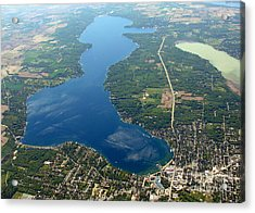 G-028 Geneva Lake And Como Lake Wisconsin Acrylic Print