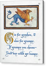 G Is For Gryphon Acrylic Print