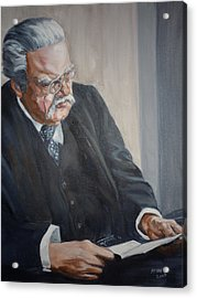 Acrylic Print featuring the painting G K Chesterton by Bryan Bustard