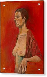 Acrylic Print featuring the painting Gabrielle Standing by Ray Agius