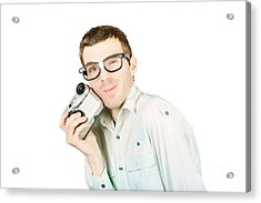 Gadget Geek With Product Satisfaction Acrylic Print