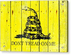 Gadsden Flag On Old Wood Planks Acrylic Print