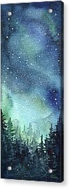 Galaxy Watercolor Aurora Painting Acrylic Print