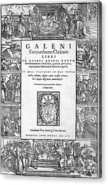 Galen, Opera Omnia, Title Page, 1556 Acrylic Print by Wellcome Images