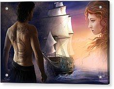 Galeon On The Horizon Acrylic Print by Sonia Verdu
