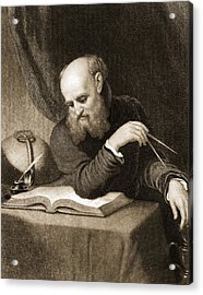 Galileo With Compass And Diagrams Acrylic Print by American School