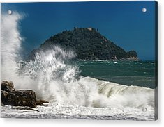 Acrylic Print featuring the photograph Gallinara Island Seastorm - Mareggiata All'isola Gallinara by Enrico Pelos