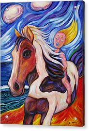 Acrylic Print featuring the painting Gallop Along The Beach by Dianne  Connolly