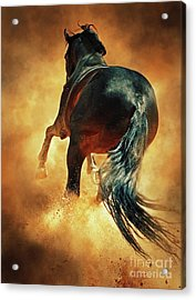 Galloping Horse In Fire Dust Acrylic Print