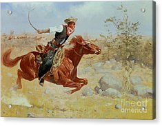 Galloping Horseman Acrylic Print by Frederic Remington
