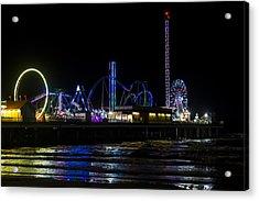 Galveston Island Historic Pleasure Pier At Night Acrylic Print
