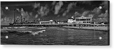 Galveston Pleasure Pier Black And White Acrylic Print by Joshua House