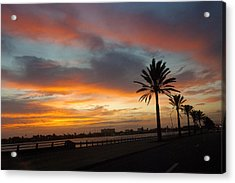 Galveston Sunrise Acrylic Print by Robert Anschutz