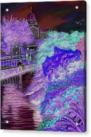 Galway Cathedral View Fron The Canal Acrylic Print by Vanda Luddy