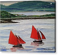 Galway Hookers Sailing By Roundstone Harbour Connemara Ireland Acrylic Print