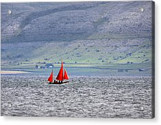 Galway Hookers Sailing In Galway Bay With The Mountains Of The Burren In The Background Acrylic Print