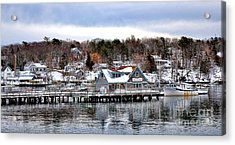 Gamage Shipyard In Winter Acrylic Print by Olivier Le Queinec
