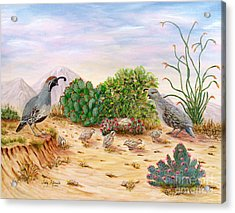 Acrylic Print featuring the painting Gambel Quails Day In The Life by Judy Filarecki
