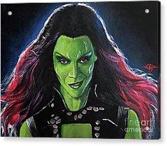 Gamora Acrylic Print by Tom Carlton