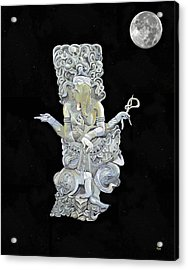 Acrylic Print featuring the mixed media Ganesh With Moon The Hindu Elephant God. by Eric Kempson