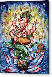 Ganesha Dancing And Playing Mridang Acrylic Print