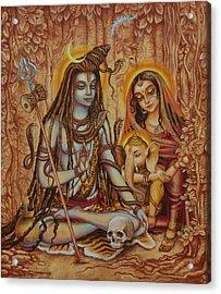 Ganesha Parvati Mahadeva Acrylic Print by Vrindavan Das