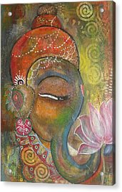 Acrylic Print featuring the painting Ganesha With A Pink Lotus by Prerna Poojara