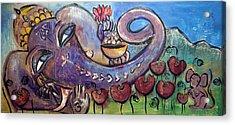 Ganesha With Poppies Acrylic Print