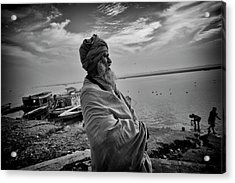Ganges Holy Man Acrylic Print by David Longstreath