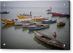 Ganges River Boats Acrylic Print by David Longstreath