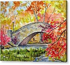 Gapstow Bridge In November Acrylic Print by Chris Coyne