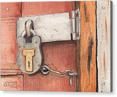 Garage Lock Number Four Acrylic Print by Ken Powers