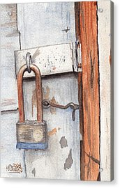 Garage Lock Number One Acrylic Print by Ken Powers