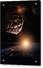 Garbage In Space Concept. Crumbled Paper Ball Meteorite Over The Acrylic Print by Alain De Maximy