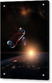 Garbage In Space Concept. Soda Tin Cans Over The Dark Planet Ear Acrylic Print by Alain De Maximy