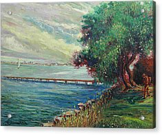 Acrylic Print featuring the painting Garda Lake -lago Garda by Walter Casaravilla