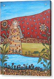Garden Angel Acrylic Print by Rain Ririn