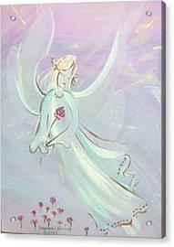 Garden Angel Acrylic Print by Rosemary Babikan